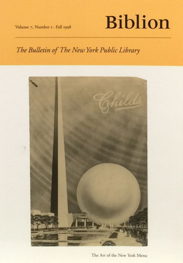 Biblion: The Bulletin of the New York Public Library Speial New York Issue. ANN SKILLION.
