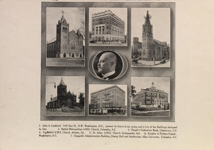 Illustrated card stock poster (8 x 10 in.) showing six of Lankford's buildings, and a portrait of the architect. JOHN A. LANKFORD.