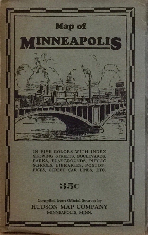 Map of Minneapolis: In Five Colors with Index Showing Streets, Boulevards, Parks, Playgrounds, Public Schools, Libraries, Post Offices, Street Car Lines, Etc. HUDSON MAP COMPANY.