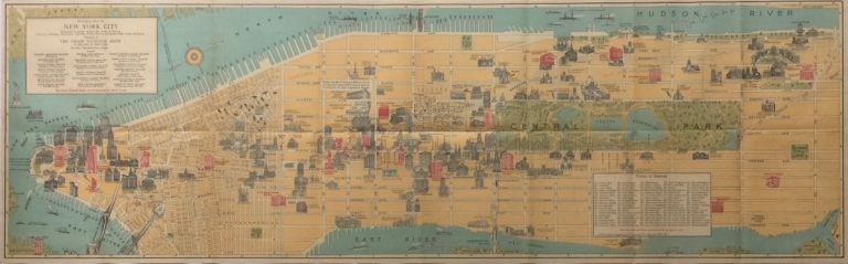 Pictorial Map of New York City: Illustrating in Graphic Manner the Points of Interest (etc.). ARTHUR CROSBY SERVICE, CHASE NATIONAL BANK.