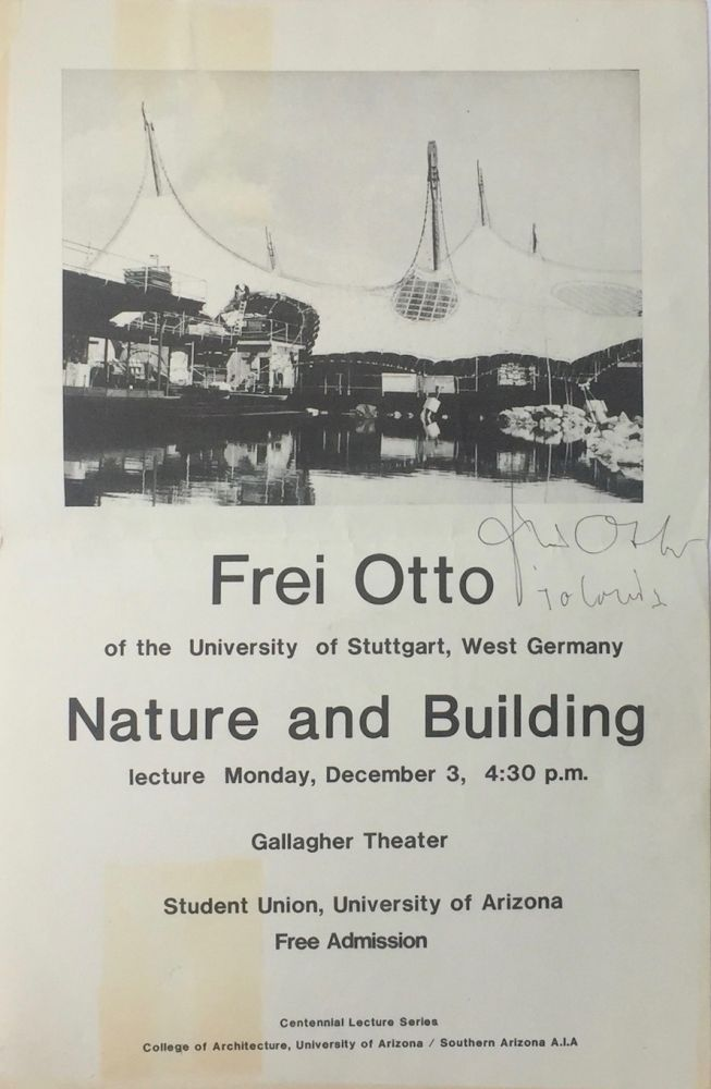 Poster Advertising Lecture. FREI OTTO.