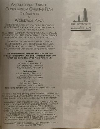 The Residences at Worldwide Plaza: Amended and Restated Condominium Offering Plan. 49/50 Plaza...